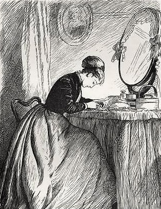 Anthony Trollope's novel 'He Knew He Was Right' -   Illustration captioned 'Nora's letter' from original 1869 edition.